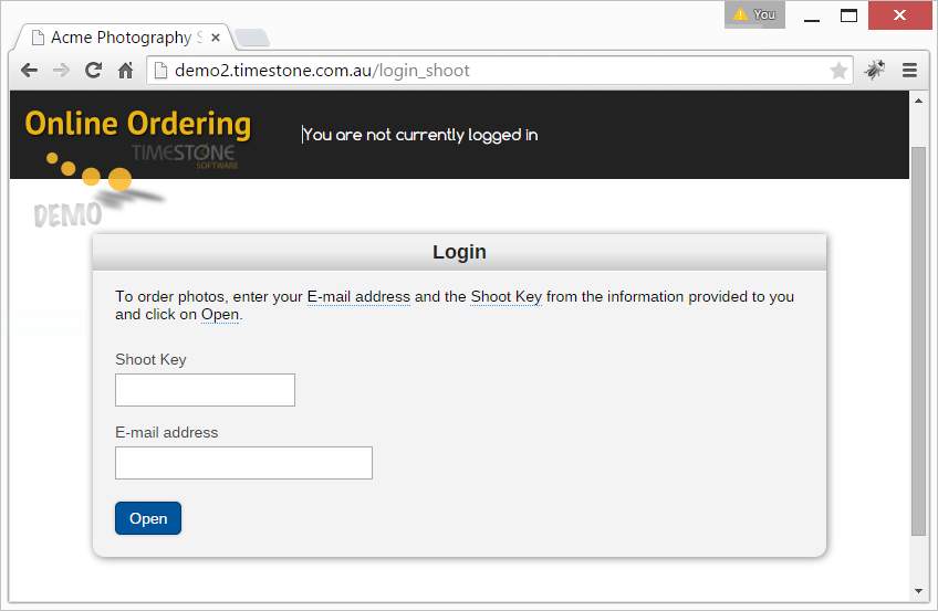 Capturing customer email at log in / Internet Ordering