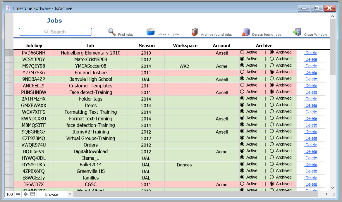 the main section of the tsarchive window lists jobs together with their job key season workspace account and archive status